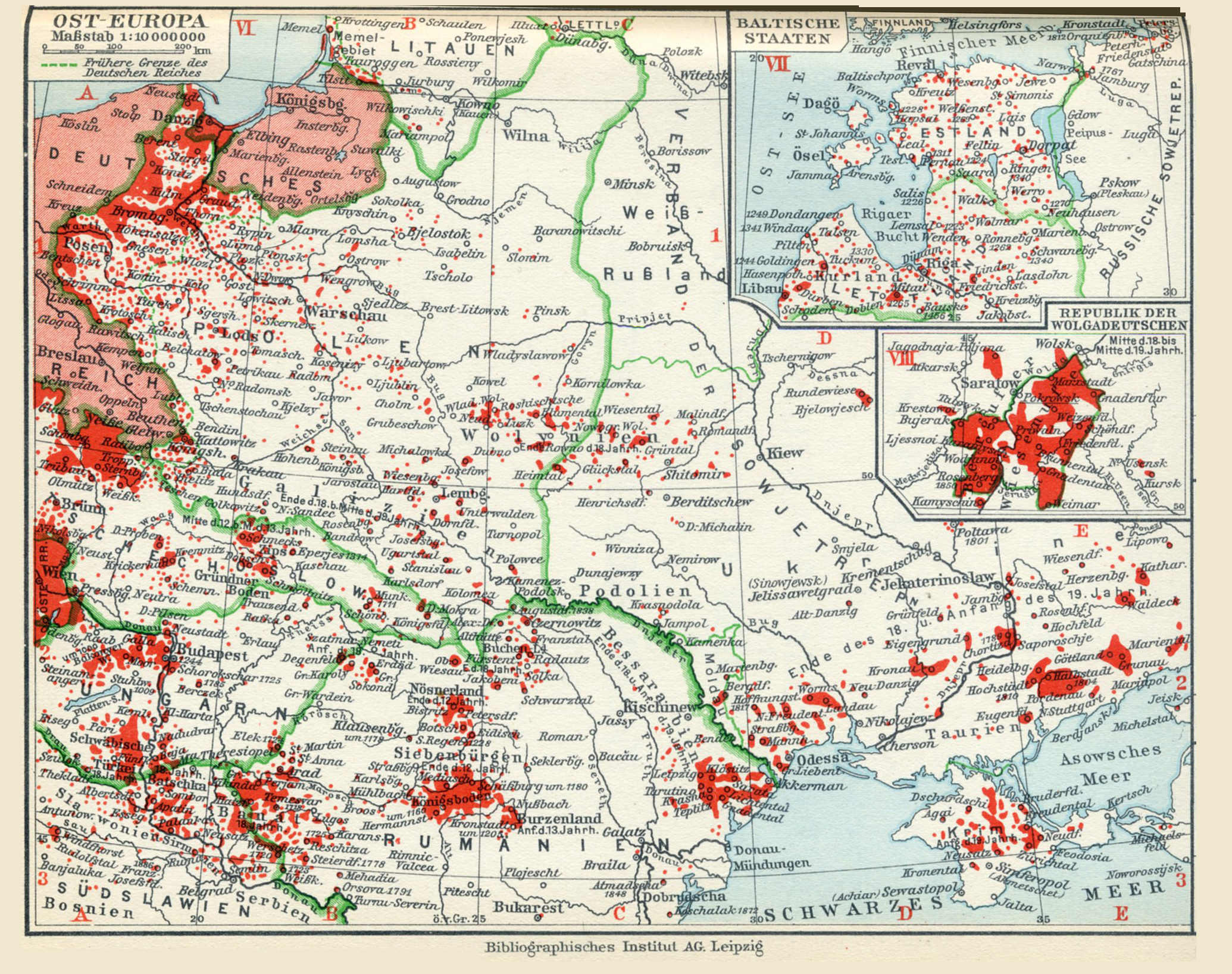 A 1932 map of the ethnic German population in Eastern Europe Axis